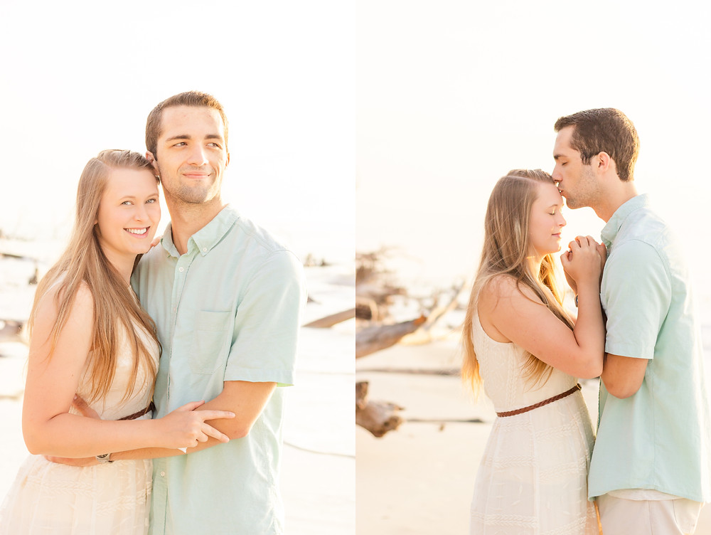 Exeter wedding photographers, Sam and Jenn, have a sunrise photo session at the beach with the sea in the background
