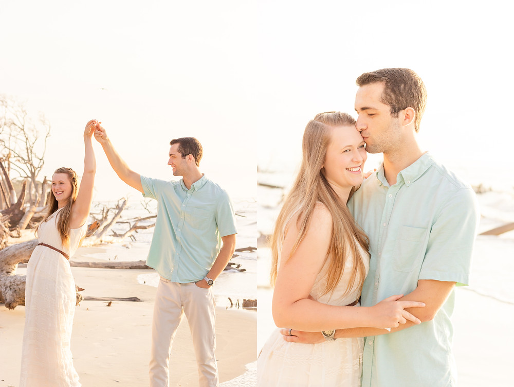 Man kisses woman on the forehead, man and woman dance on the beach