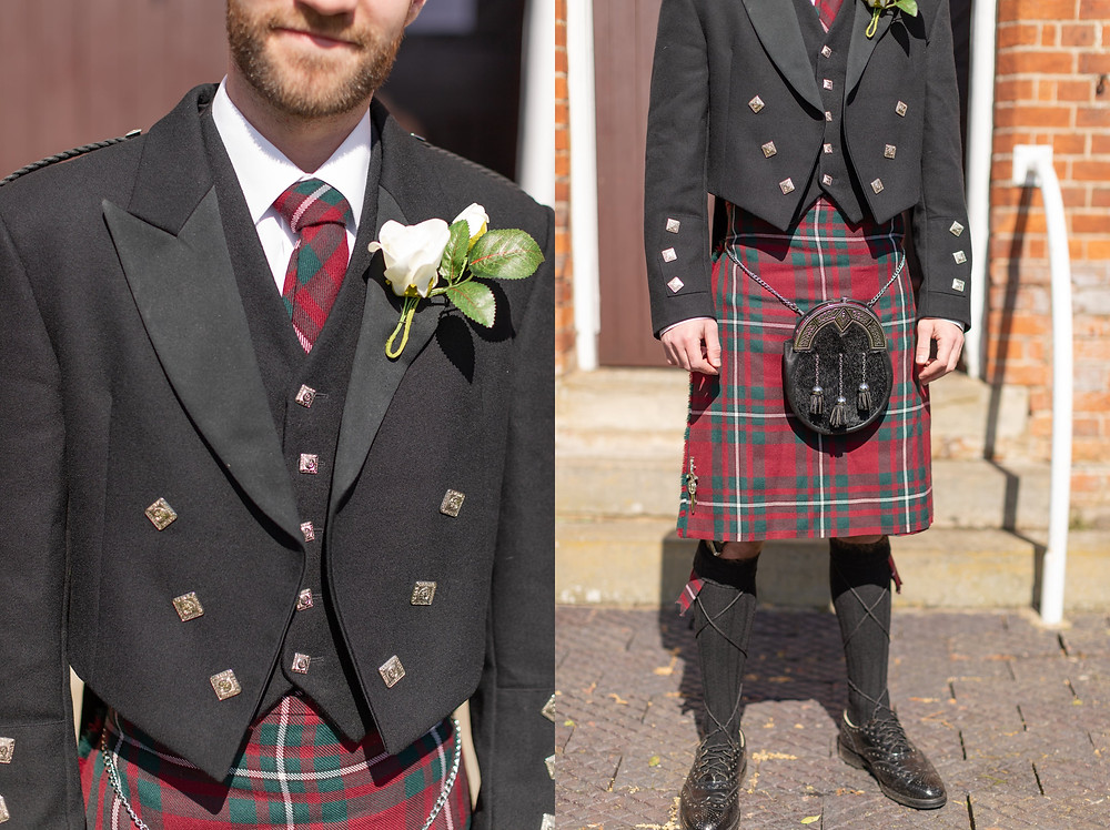 groom's details, groom wearing a red and green tartan Scottish kilt for wedding ceremony