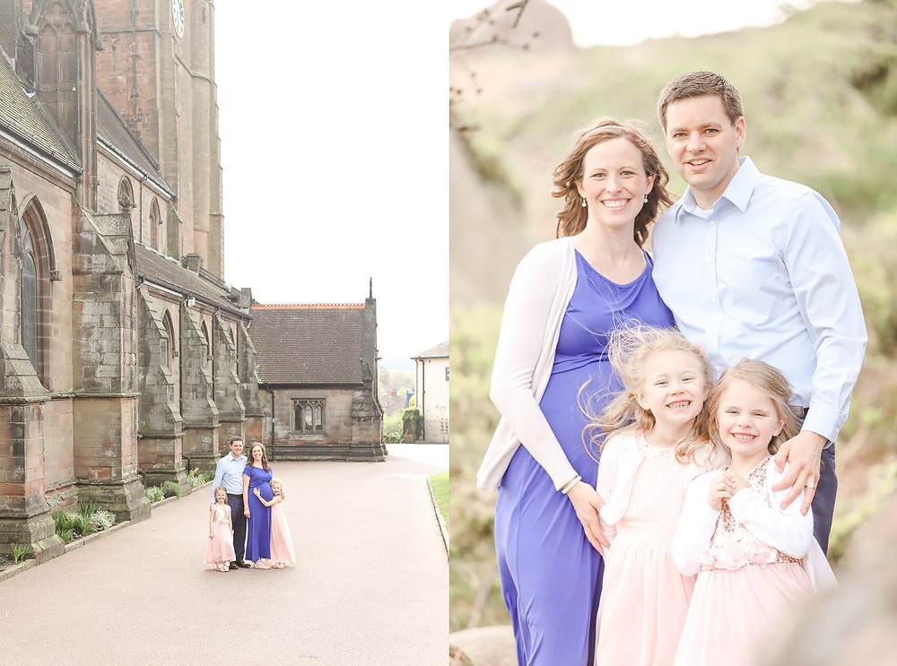 Couple with two children during a maternity shoot by Exeter photographer in the Peak District