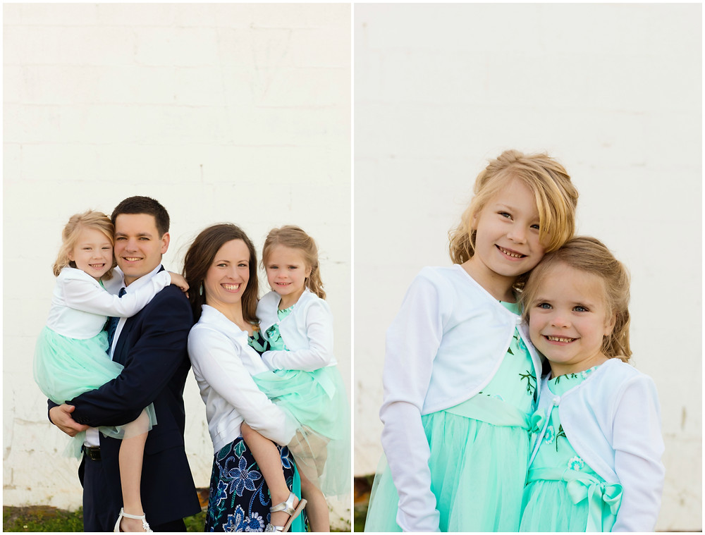 A family color coordinate their outfits for a portrait session with Exeter photographer
