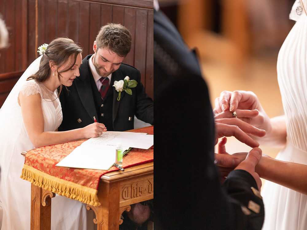 bride and groom sign the wedding registry, bride places wedding band on groom's finger