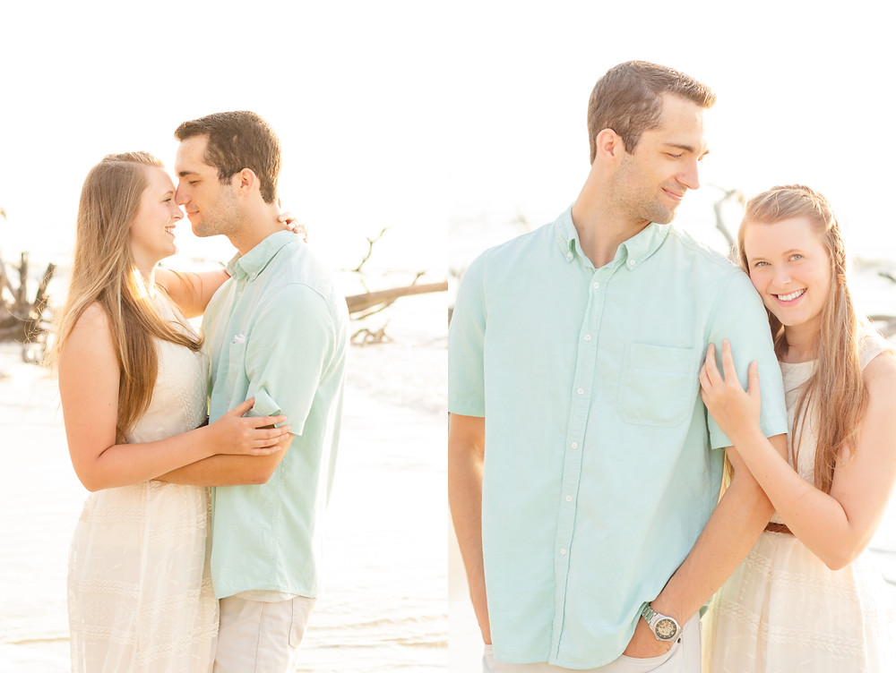 man and woman stand on a beach during sweetheart anniversary photoshoot