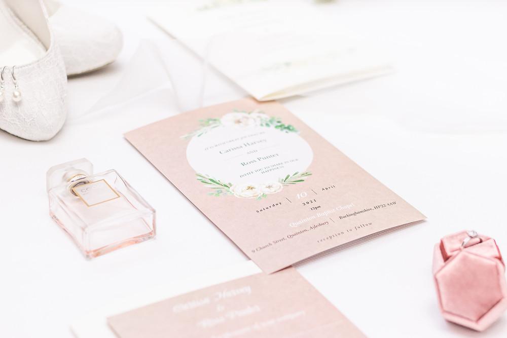 Wedding invitations flat lay