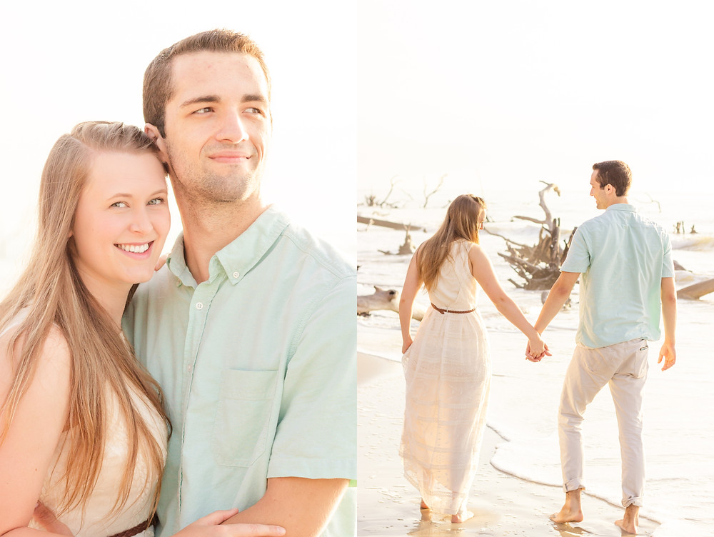 Husband and wife are standing on a beach on Hunting Island, SC