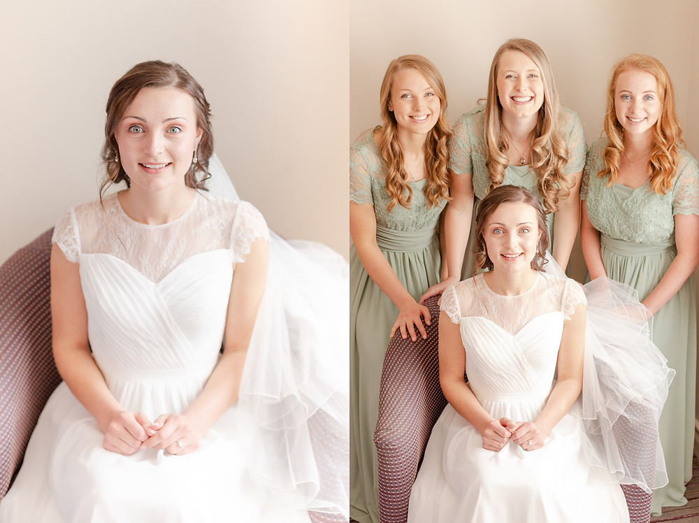 Bride in wedding dress smiles at the camera, bride in white wedding dress sits with bridesmaids in green dresses before the wedding