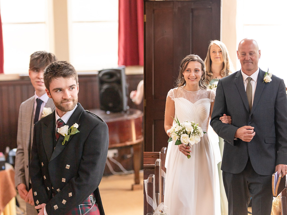 groom looks over his shoulder and sees the bride for the first time, bride and father walk down the aisle