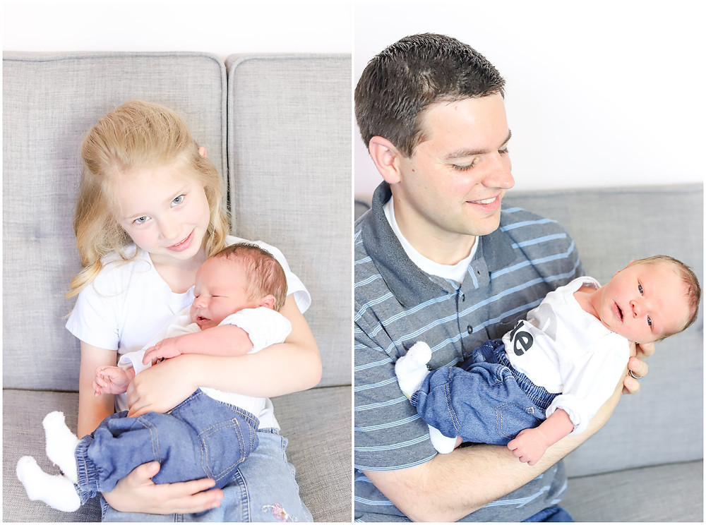Collage of a newborn baby boy being held by his Dad and big Sister
