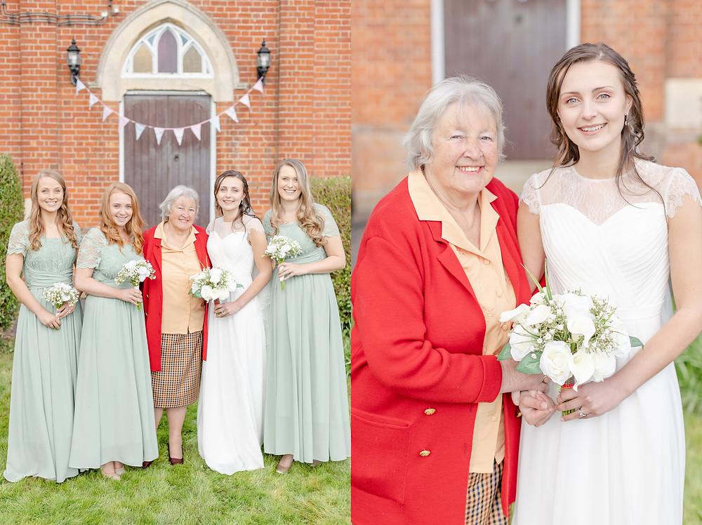 bride, bridesmaids, and grandmother of the bride wedding portaits