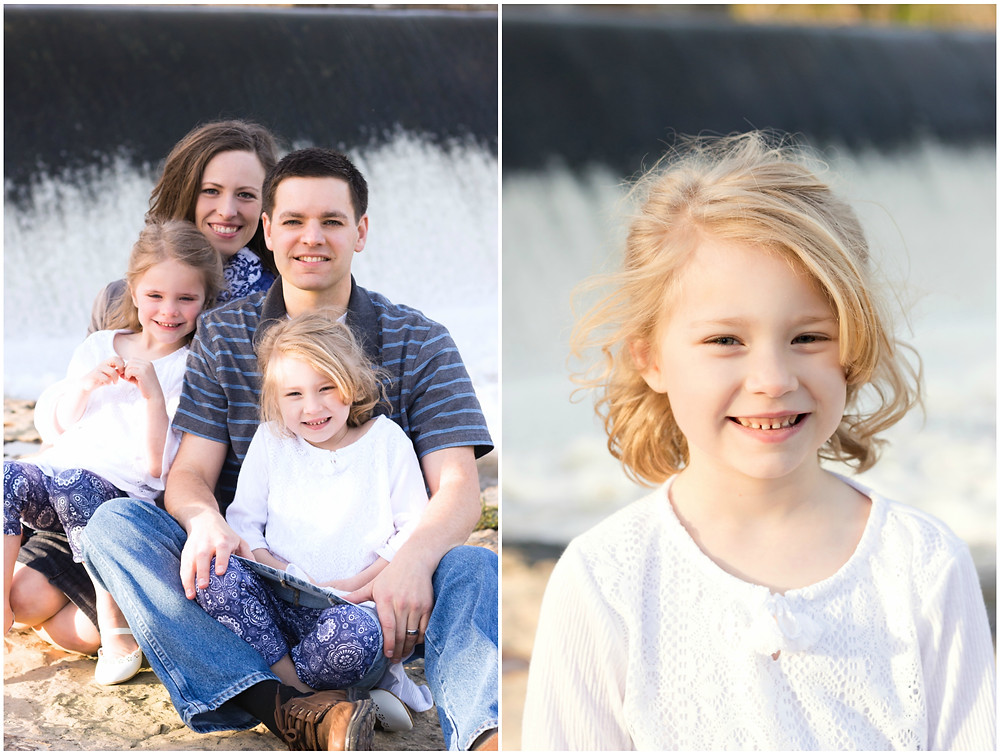 Family portraits in front of a water dam
