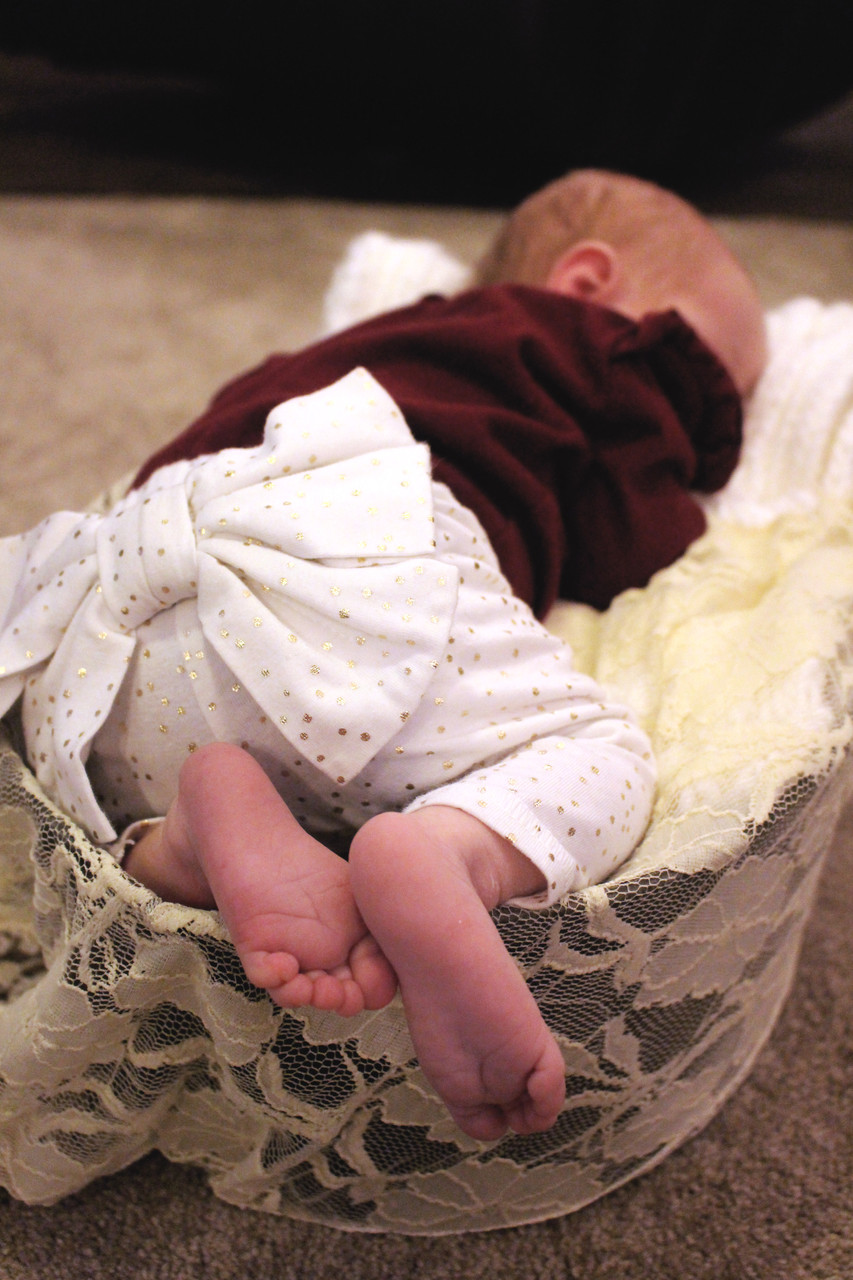 A newborn girl sleeping in a basket during a baby photo shoot