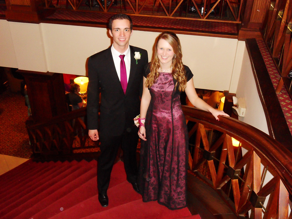 Sam and Jenna at a Valentine's Banquet dressed up all fancy