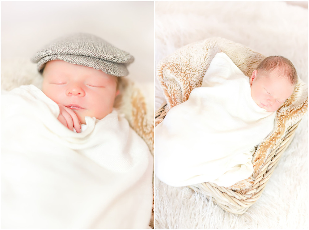 Newborn baby boy sleeps in a basket during photoshoot with Exeter photographer