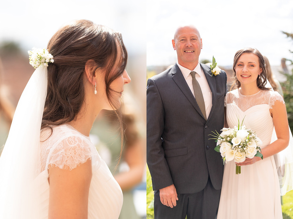 side profile of bride's wedding veil, father of the bride and bride smile before the wedding ceremony