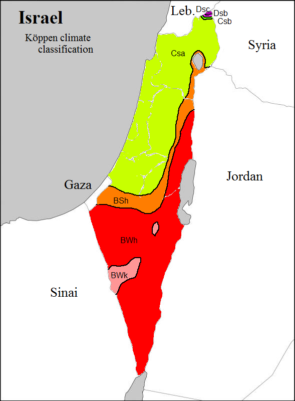 Weather map of Israel