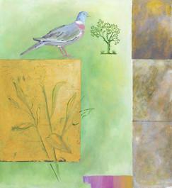 artists garden with pigeon