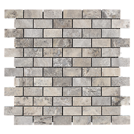 brick stone mosaic - silver travertine.p