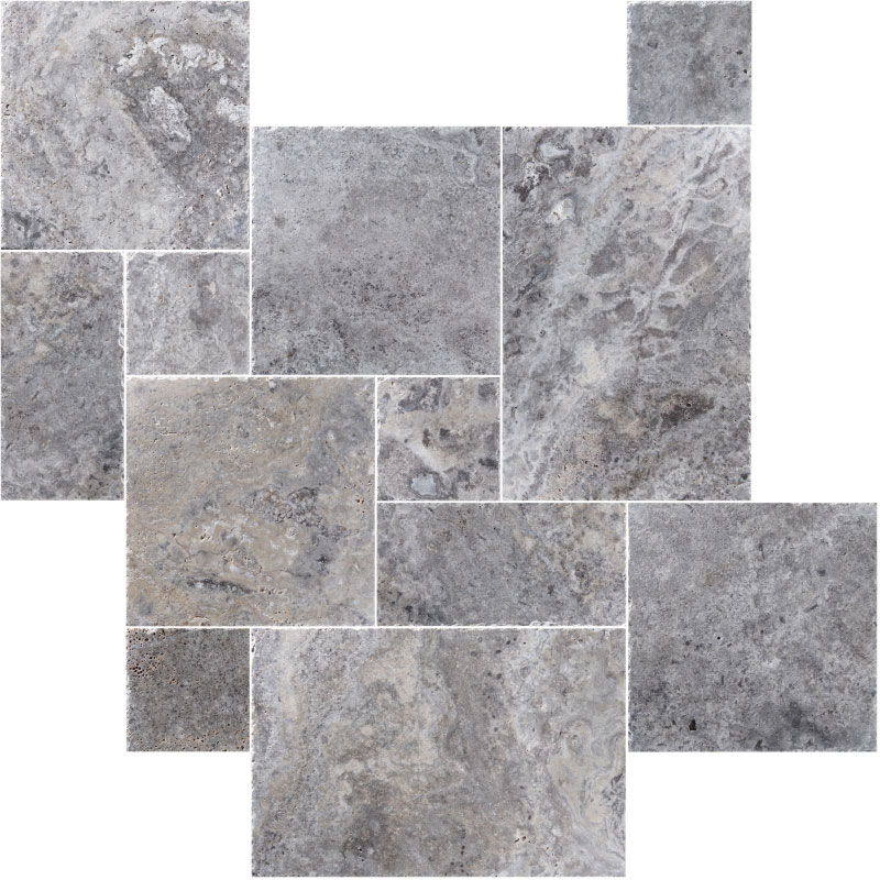 Silver Travertine Pattern Set