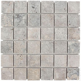 4,8X4,8cm mosaic pattern - silver travertine