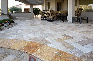 travertine paver project - terrance of a