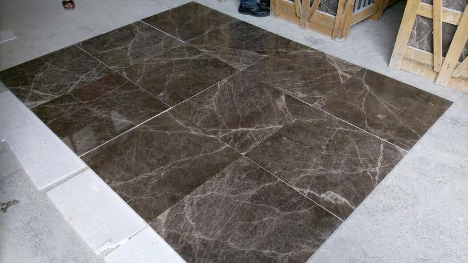 dark emperador looks amazing on floor in size 2x60x60cm
