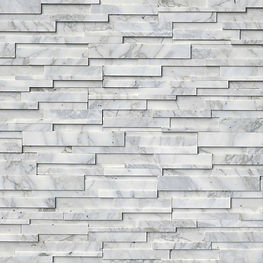 stacked stone ledger panel - calacatta w