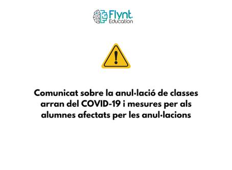 Comunicat sobre la anul·lació de classes arran del COVID-19