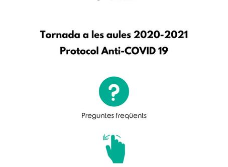 Protocol Anti-Covid19 per a la tornada a l'escola - FAQ