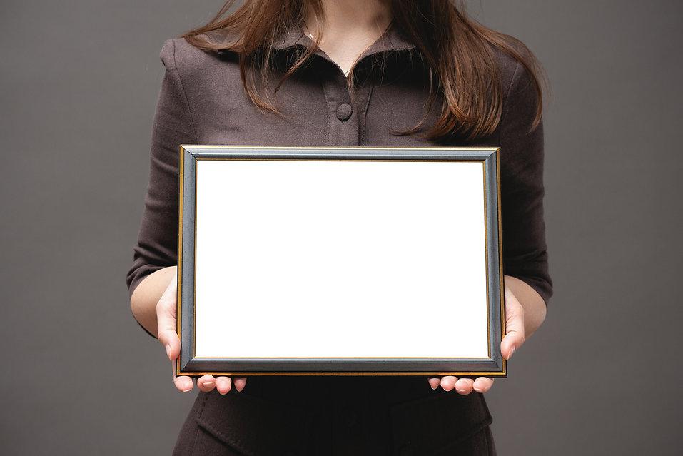 Blank diploma certificate mockup. Woman