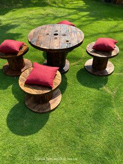 Rustic cable reel tables and stools