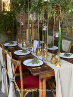 Rustic table and cross back chair hire
