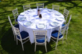 Chiavari chair with blue seat pad