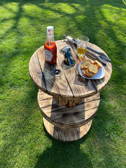 Rustic cable reel poseur table