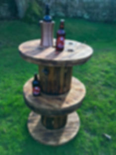 Rustic cable reel stools (Poseur table).