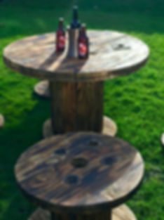 Rustic cable reel tables and stools 2.jp