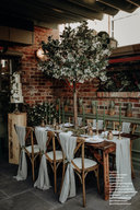 Rustic table and cross back chair hire, Cheshire