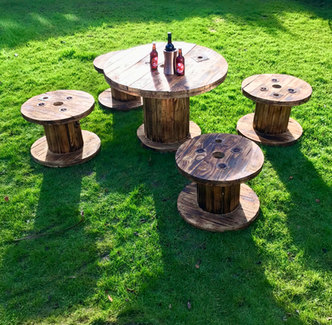Rustic cable reel tables and stools hire
