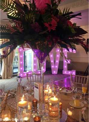 Chiavari chairs and LOVE letters at Willington Hall