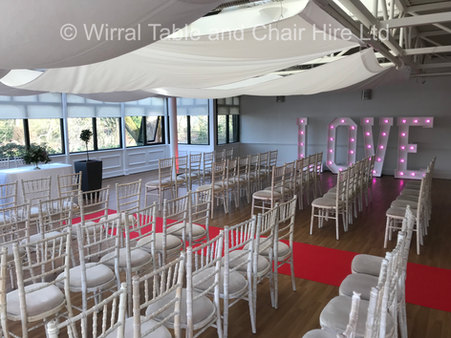 Chiavari chairs & 5ft light up letters at Ness Botanical Gardens