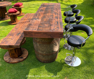 Rustic bar and bench & stools hire Wirral
