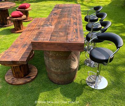 Rustic bar and bench & stools.jpeg