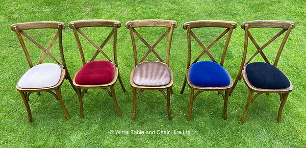 Rustic cross back chair (all colour pads
