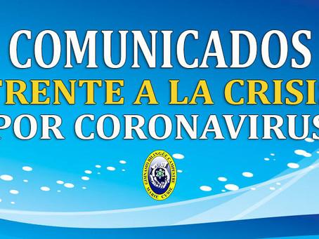 COMUNICADO NO. 12 FRENTE A LA CRISIS POR CORONAVIRUS