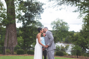 Bride and groom share first kiss as husband and wife