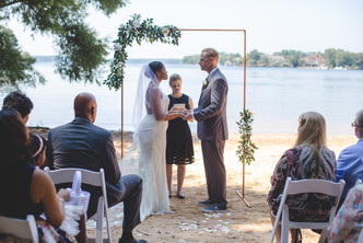 Bride and groom exchange vows at Jetton Park waterfront