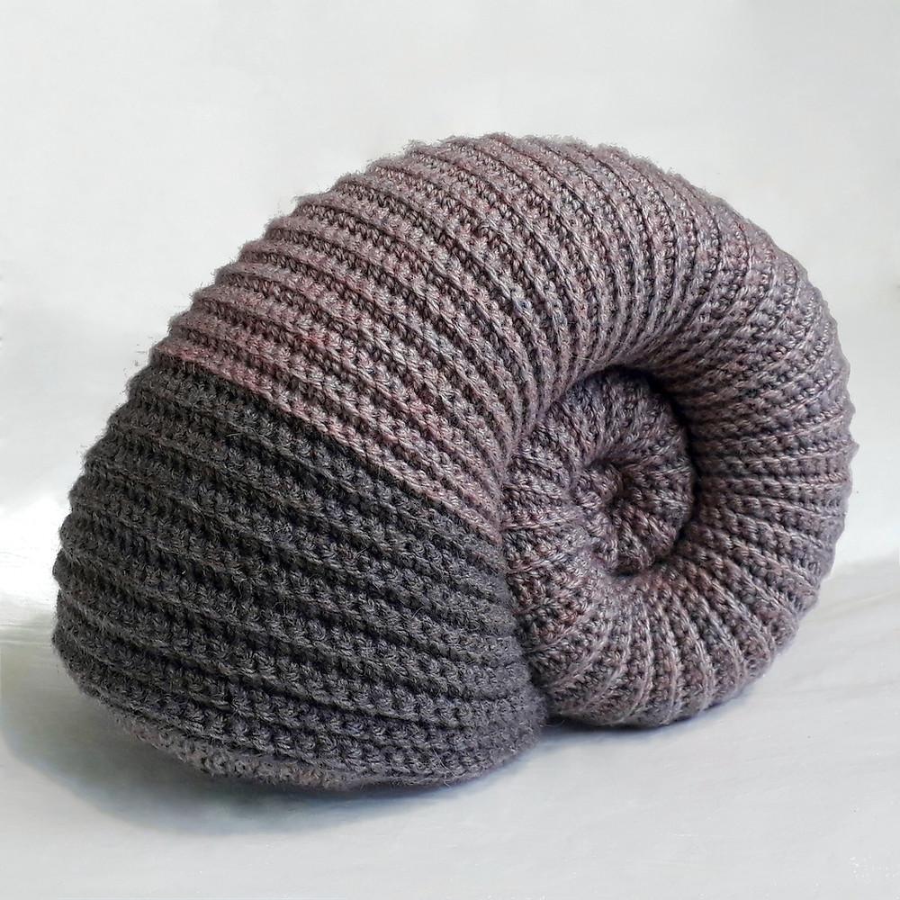 crochet ammonite cushion fossil mauve grey