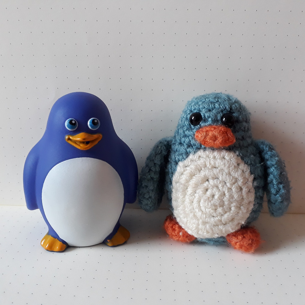 crochet penguin toy amigurumi blue bath handmade pattern