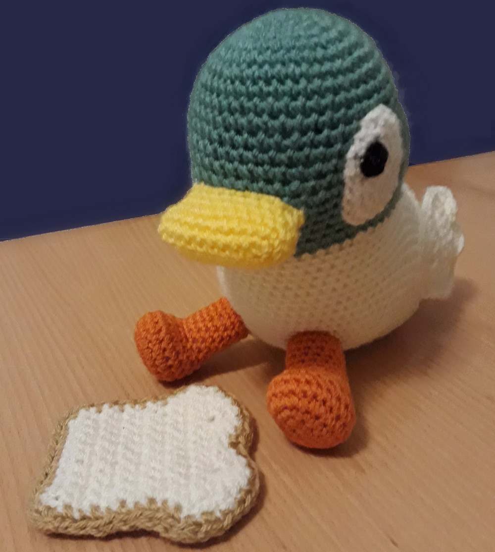 """crochet amigurumi duck character toy from bbc tv show """"sarah and duck"""""""