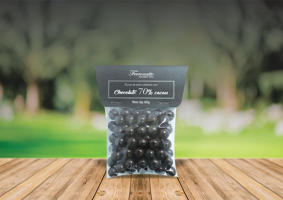 drágea chocolate amargo 70%cacau