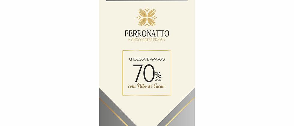 Barra Chocolate Amargo 70% Cacau com Nibs de Cacau - 80g